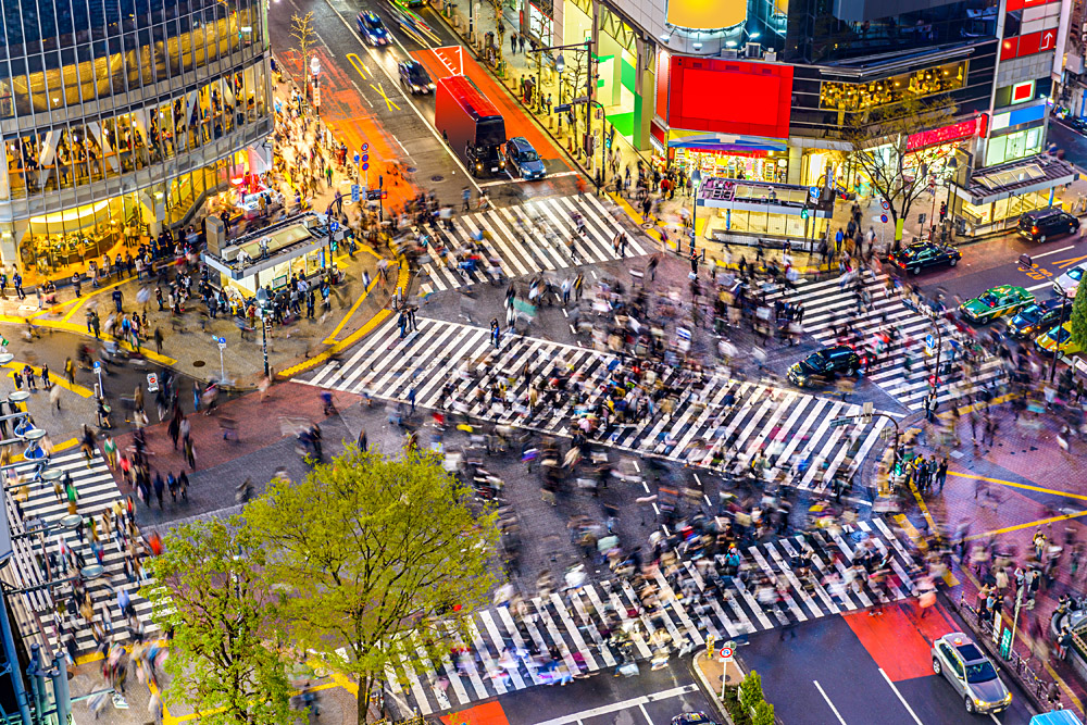 Shibuya Crossing, One of World's Busiest Crosswalks, Tokyo, Japan