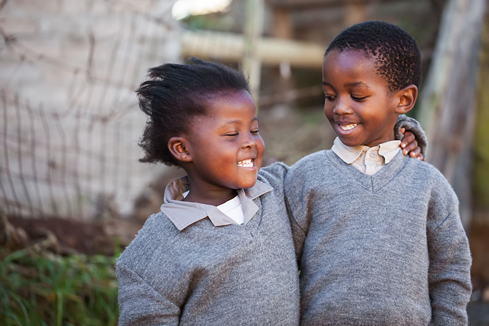 Smiling Boy and Girl in Cape Town, South Africa