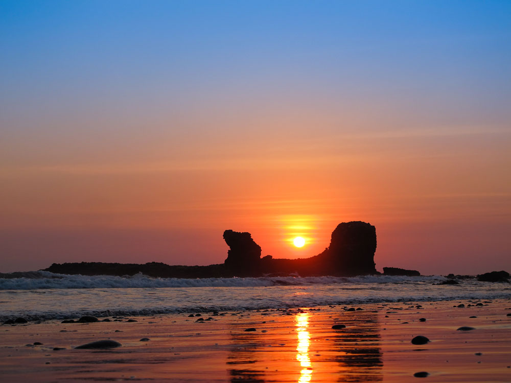 Sunset Through Rock in El Salvador