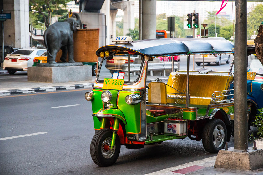 Tuktuk at Silom Road in Bangkok, Thailand