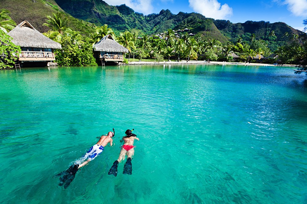 Young Couple Snorkeling in Moorea in Tahiti (French Polynesia)
