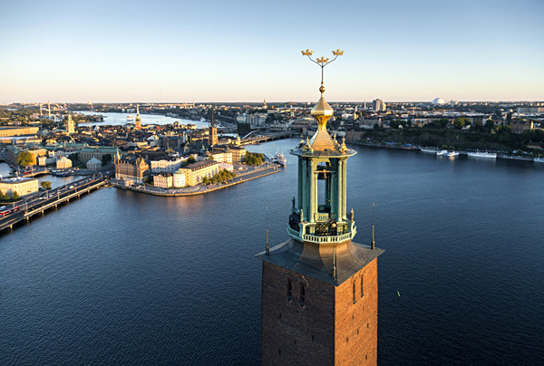 Aerial View of Stockholm and City Hall Tower, Sweden - Photo credit Henrik Trygg