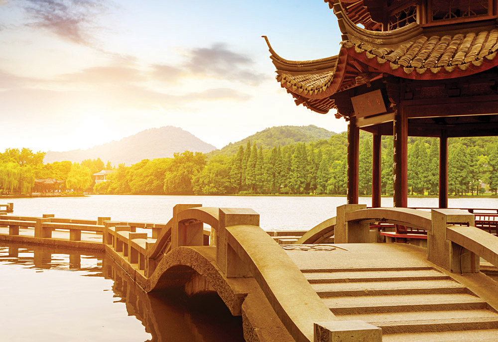 Beautiful West Lake Scenery at Dusk in Hangzhou, China