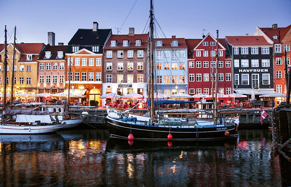 Boats Docked in Nyhavn Canal, Copenhagen, Denmark
