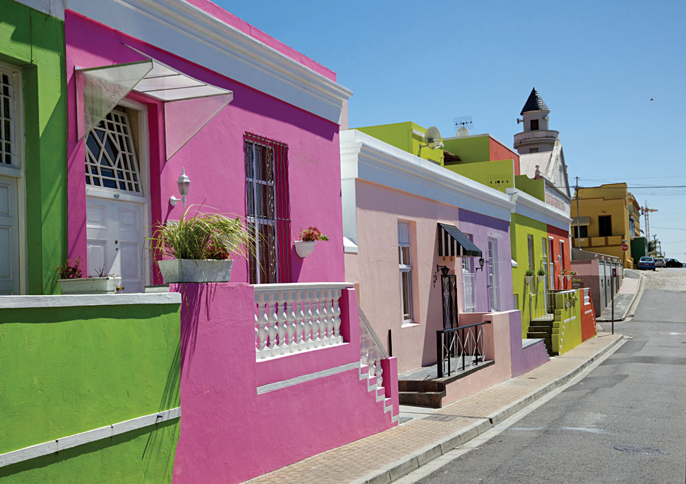 Colourful Cottages in Bo Kaap, formerly known as the Malay Quarter, Cape Town, South Africa