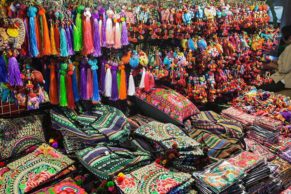 Colourful Thai Style Fabrics in the Market, Thailand