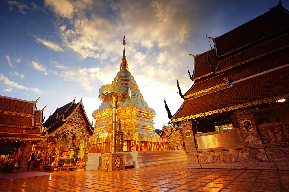 Doi Suthep Temple Pagoda at Twilight, Chiang Mai, Thailand