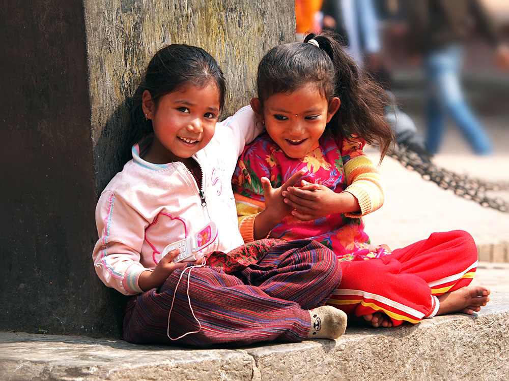 Girls Sitting on the Street of Kathmandu, Nepal