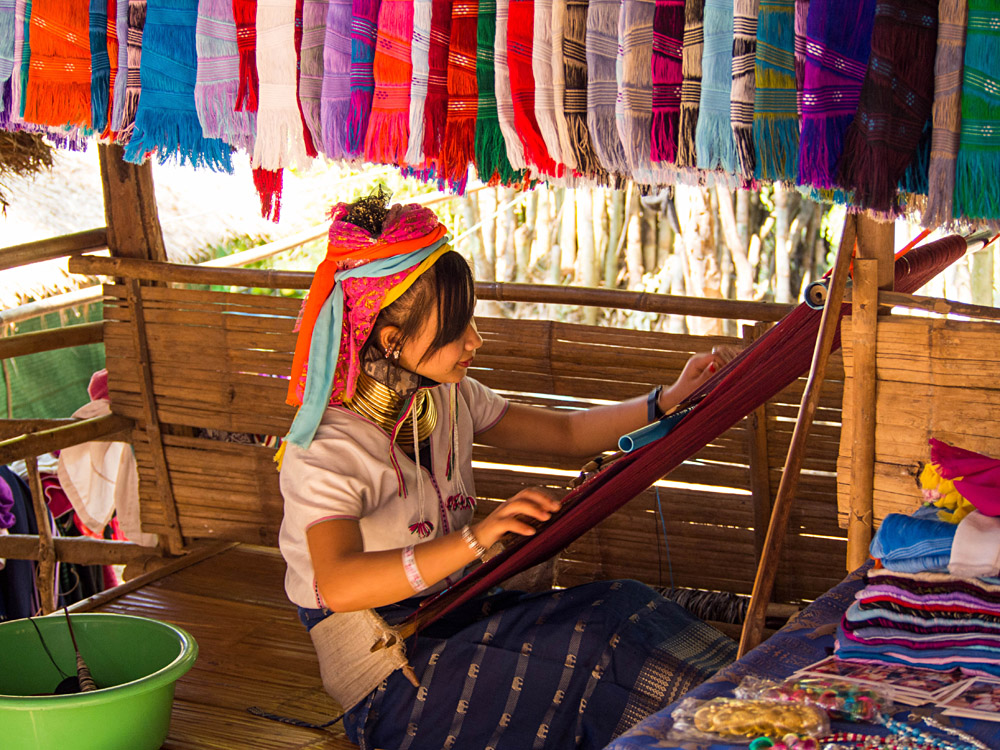 Karen Hill Tribe Woman Making Scarves in Long Neck Village, Chiang Mai, Thailand