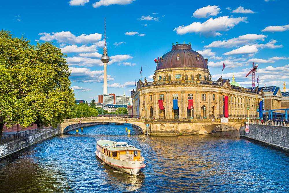 Museumsinsel (Museum Island) with Excursion Boat on Spree River, Berlin, Germany