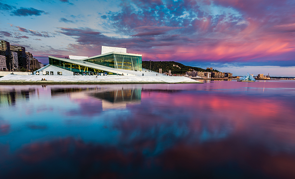 Oslo Opera House and Bjorvika Waterfront at Sunset, Norway