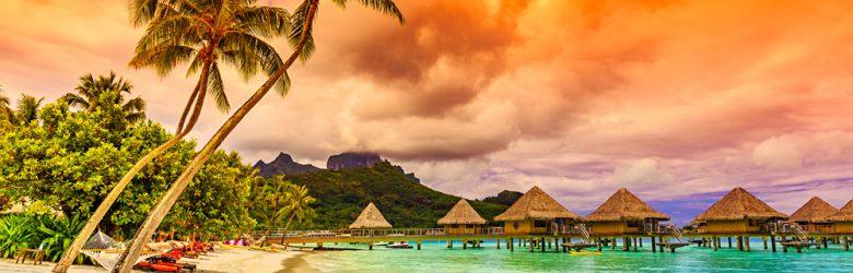 Otemanu Mountain, Beach, and Palm Trees, Bora Bora, Tahiti (French Polynesia)