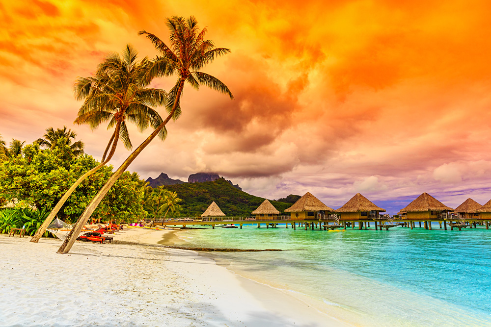 Otemanu Mountain, Beach, and Palm Trees, Bora Bora, Tahiti (French Polynesia)