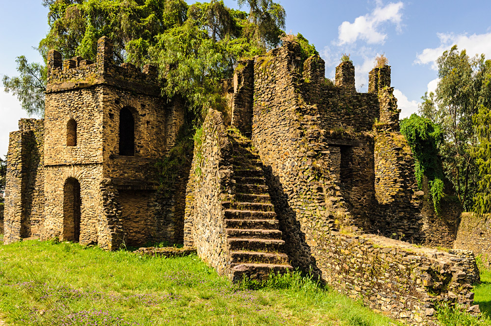 Remains of Fasil Ghebbi, Gondar. Ethiopia, Africa