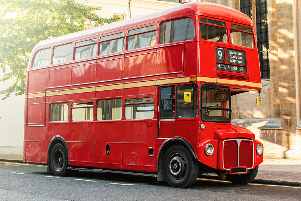 Routemaster Double Decker Bus Route 9 in London, England, UK