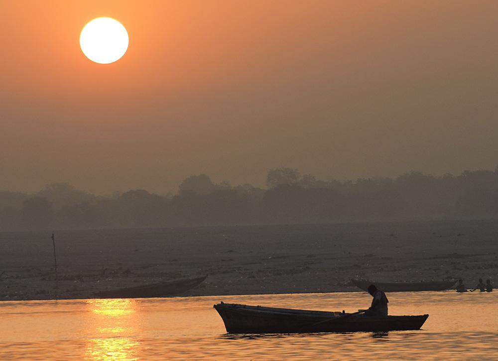 Rowing Along the Ganges at Sunset, Varanasi, India