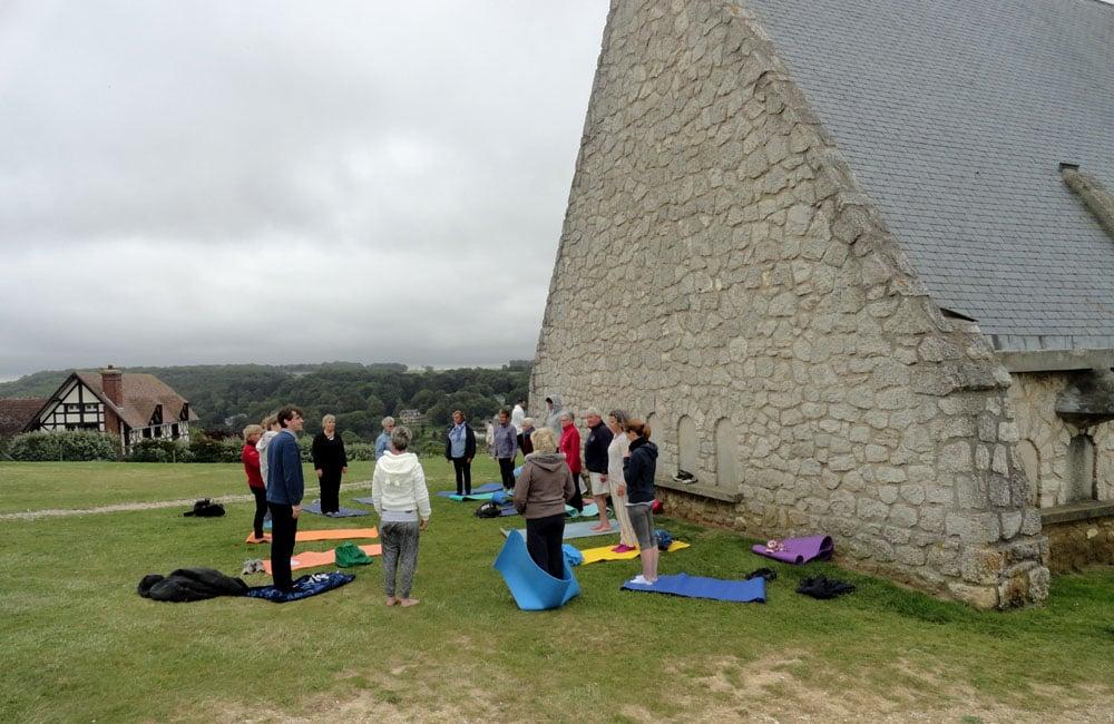 Steve Martin - Enjoying a Yoga Class at Notre Dame Chapel, in Etretat, Normany, France