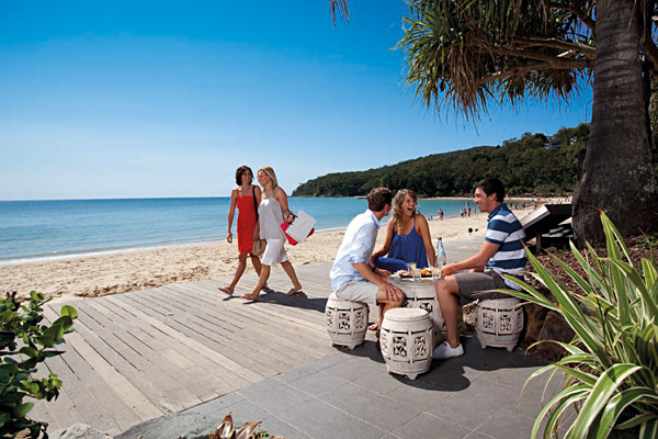 Strolling the Boardwalk at Noosa Beach Along the Sunshine Coast, Queensland, Australia