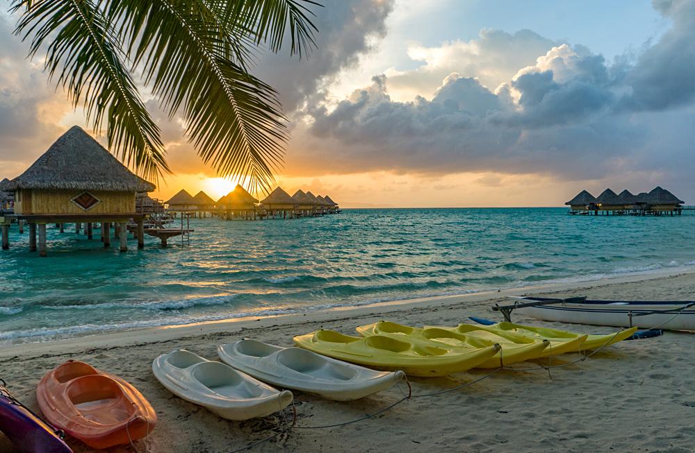 Sunset On a Beach in Bora Bora, Tahiti