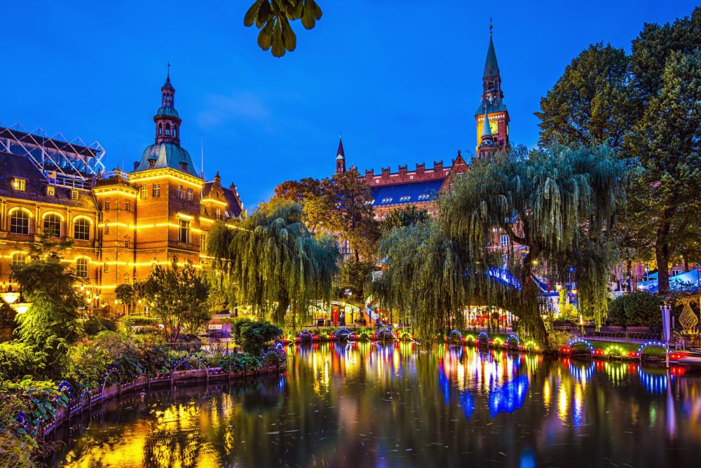 Tivoli Gardens at Night, Copenhagen, Denmark