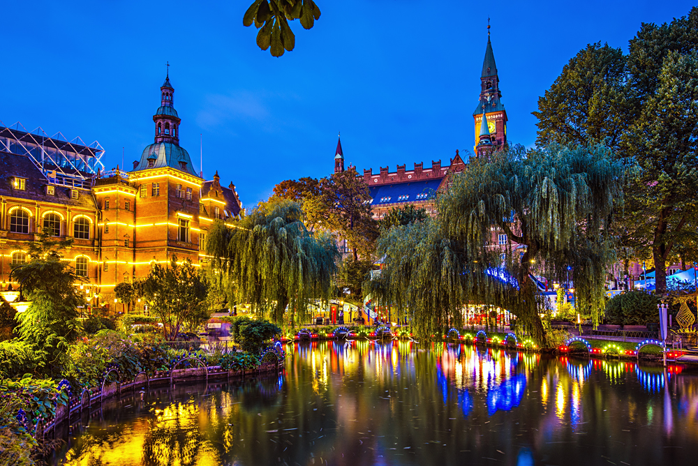 Tivoli Gardens at Night, Copenhagen, Denmark