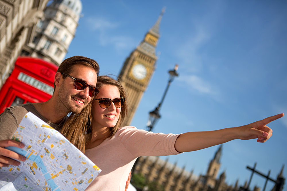 Tourist Couple with Map in London, England, UK