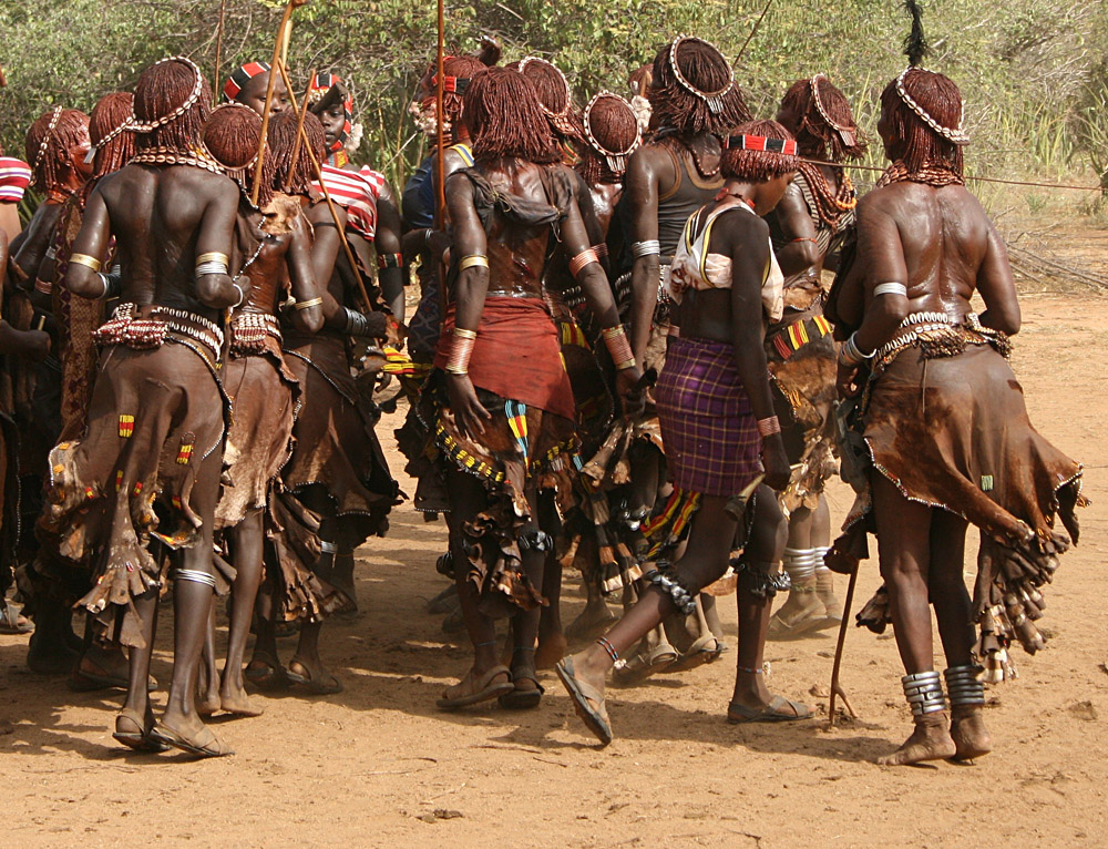 Women of the Hamer Tribe Dancing in Their Finest Clothes During Wedding Ceremony, Ethiopia