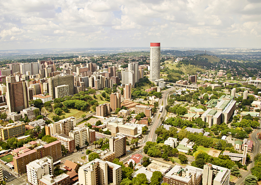 Aerial View of Central Business District in Johannesburg, South Africa