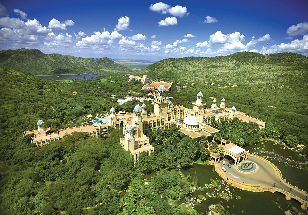 Aerial View of Palace of the Lost City and Sun City, South Africa
