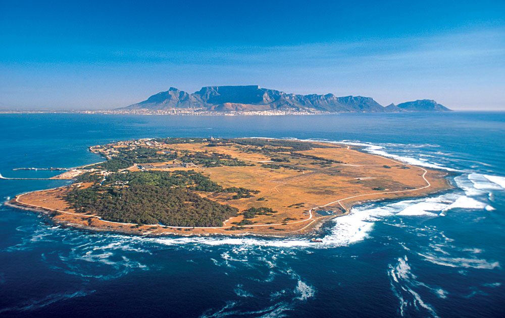Aerial View of Robben Island, Cape Town, South Africa