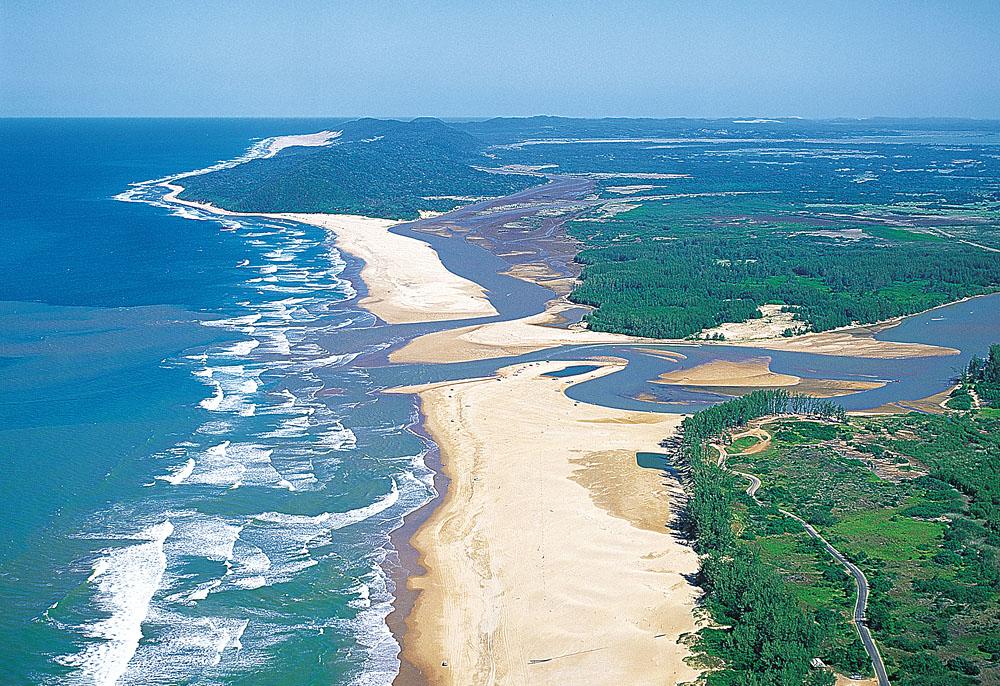 Aerial view of St Lucia Wetlands or iSimangaliso Wetlands Park, KwaZulu-Natal, South Africa  Photo credit: John Hone