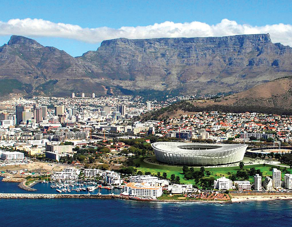 Cape Town Stadium and Table Mountain, South Africa