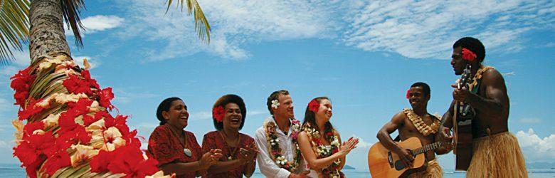 Couple on Beach with Musicians, Fiji