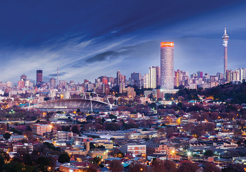 Johannesburg Skyline at Night, South Africa - Cropped