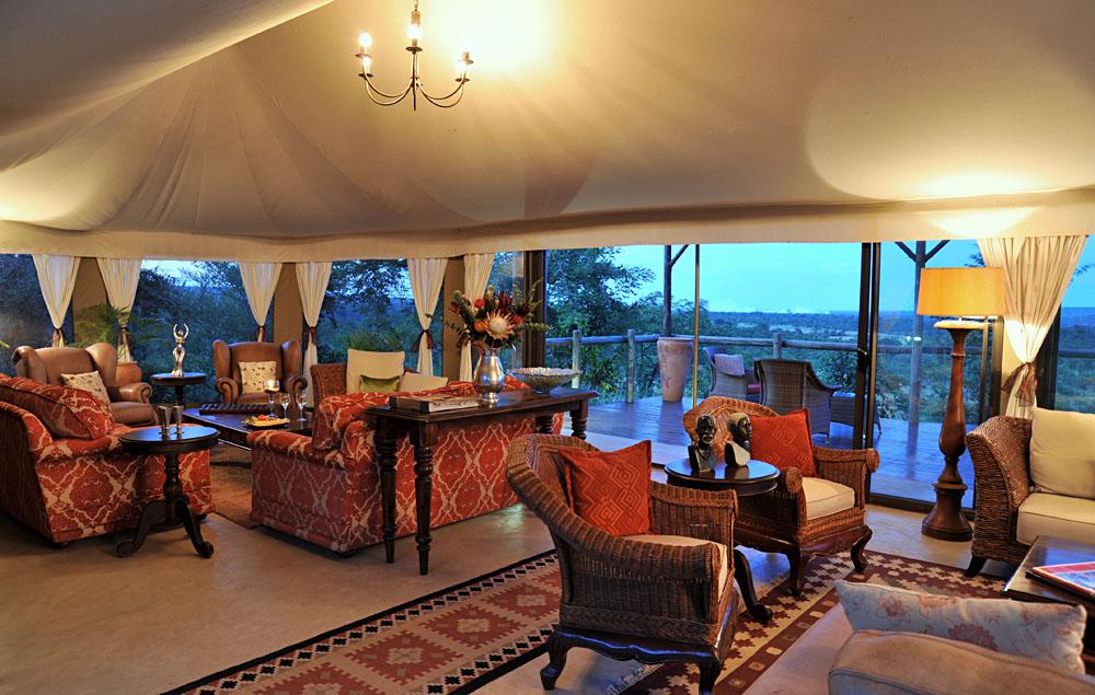 Lounge at Elephant Camp Lodge, Zimbabwe