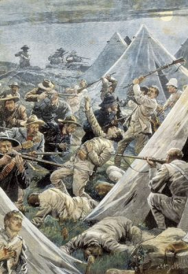South Africa, Second Boer War, Attack to the English camp of Tweefontein (1902) by Artist Achille Beltrame - © AISA Everett Collection (40263)