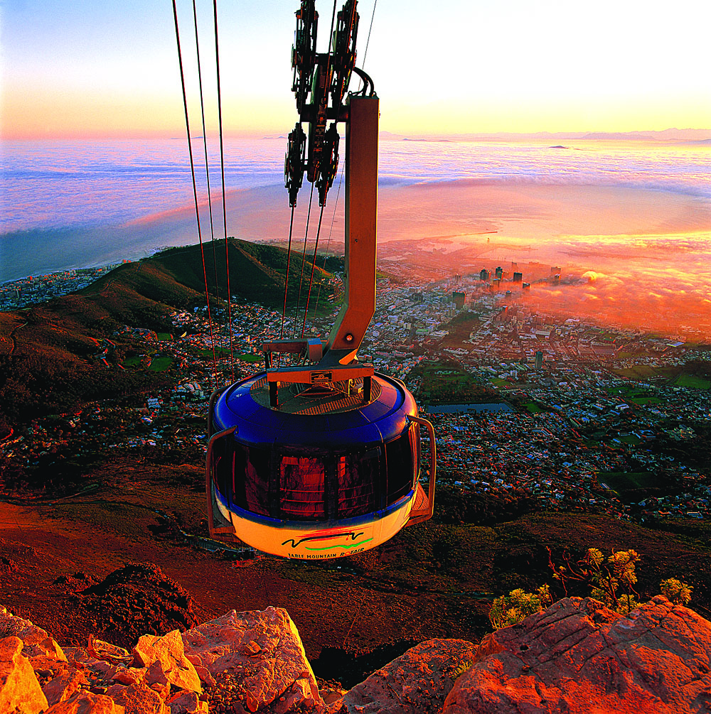 Table Mountain Cablecar at Sunset, Cape Town, South Africa