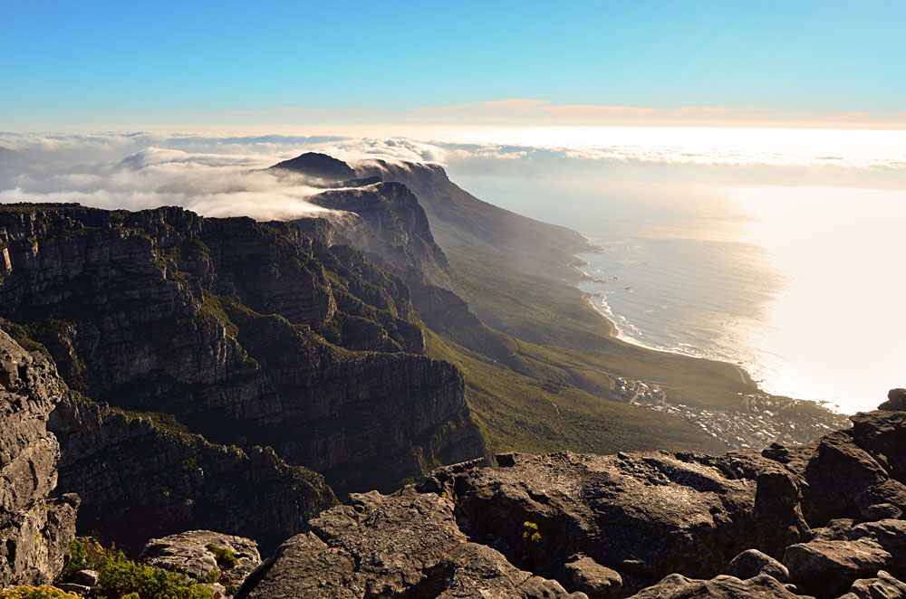 View of Table Mountain with Top Covered in clouds at Sunset, Cape Town, South Africa