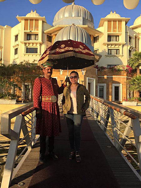 Amelia Chee - Amelia Outside the Magnificent Leela Palace in Udaipur, India