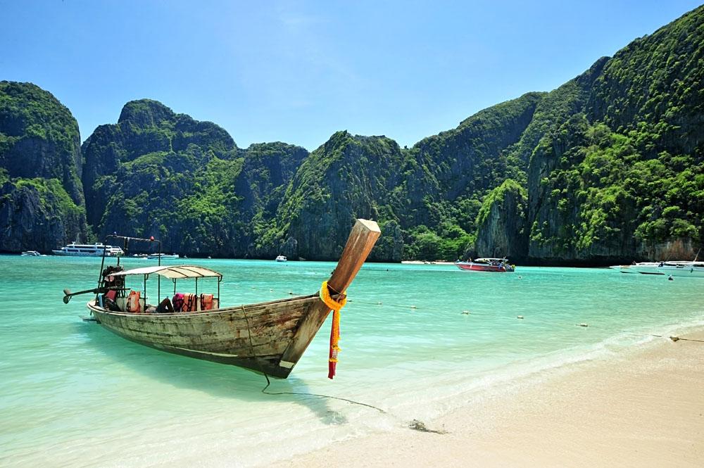 Long Tailed Boat on Phuket Beach, Thailand