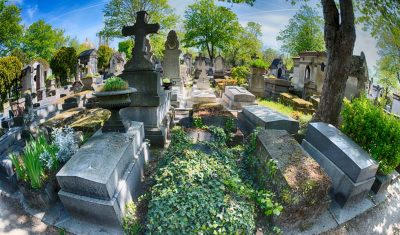 Pere Lachaise cemetery, Paris. Each year thousands of fans and curious visitors come to pay homage to celebrities grave.