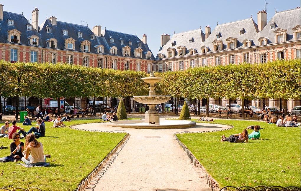 Place des Vosges the oldest planned square in Paris located in Marais district - Paris sightseeing