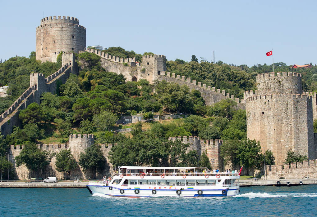 Rumeli Fortress on seen from cruising on the Bosphorus Straits - Istanbul vacation