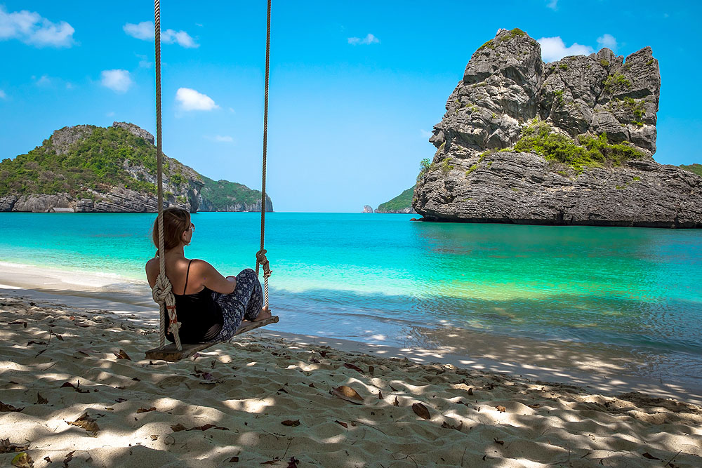 Woman on a Swing in Ang Thong National Marine Park, Thailand