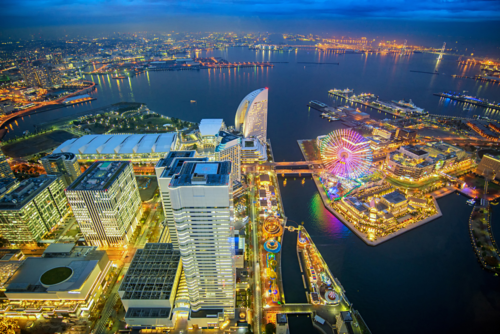 Aerial View of Cityscape and Bay at Minato Mirai Waterfront District, Yokohama, Japan