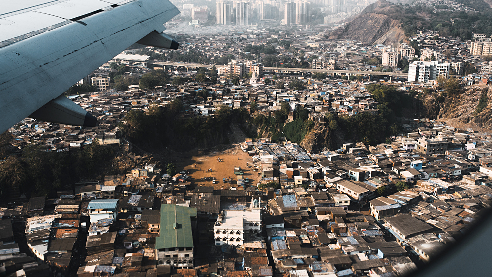 Aerial View of Dharavi, One of the Largest Slums in the World, Mumbai, Maharashtra, India