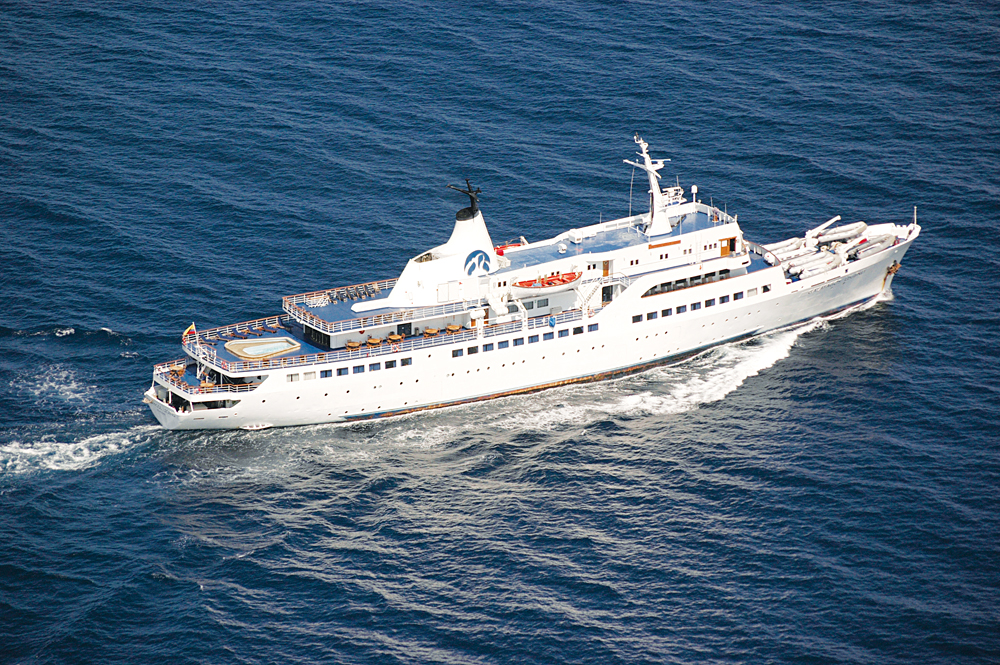 Aerial View of Galapagos Cruise Vessel, MV Legend, Ecuador