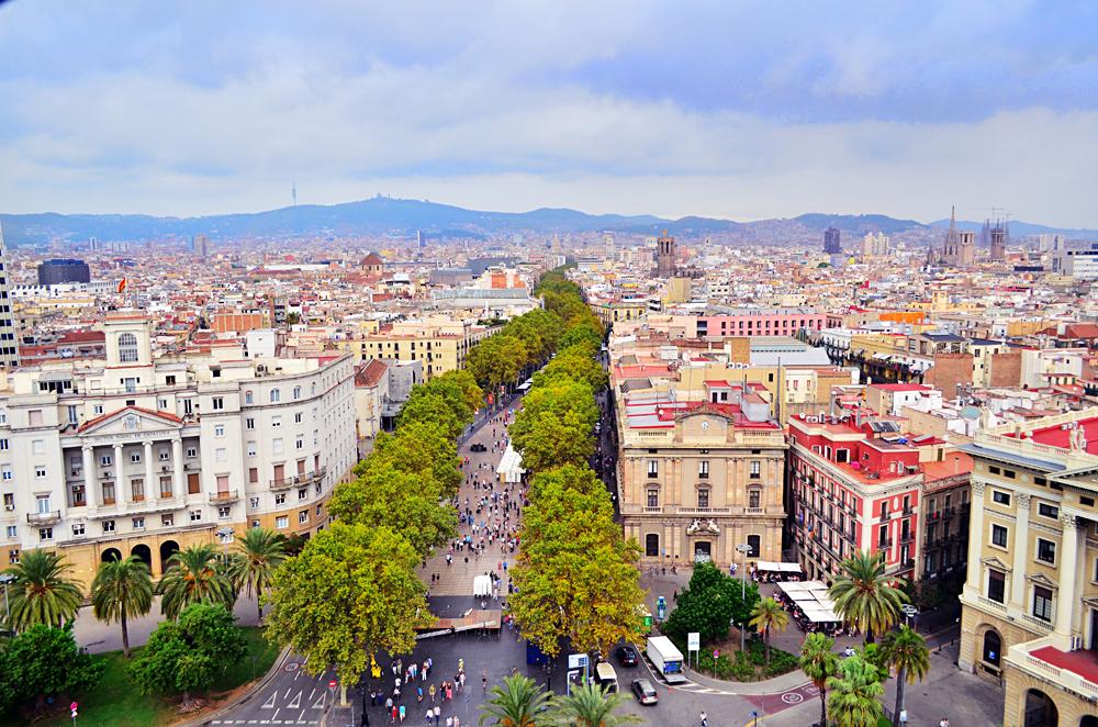 Aerial View of Las Ramblas in Barcelona, Spain