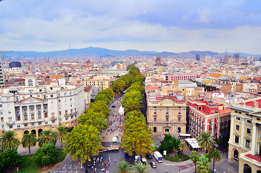 Aerial View of Las Ramblas in Barcelona, Spain