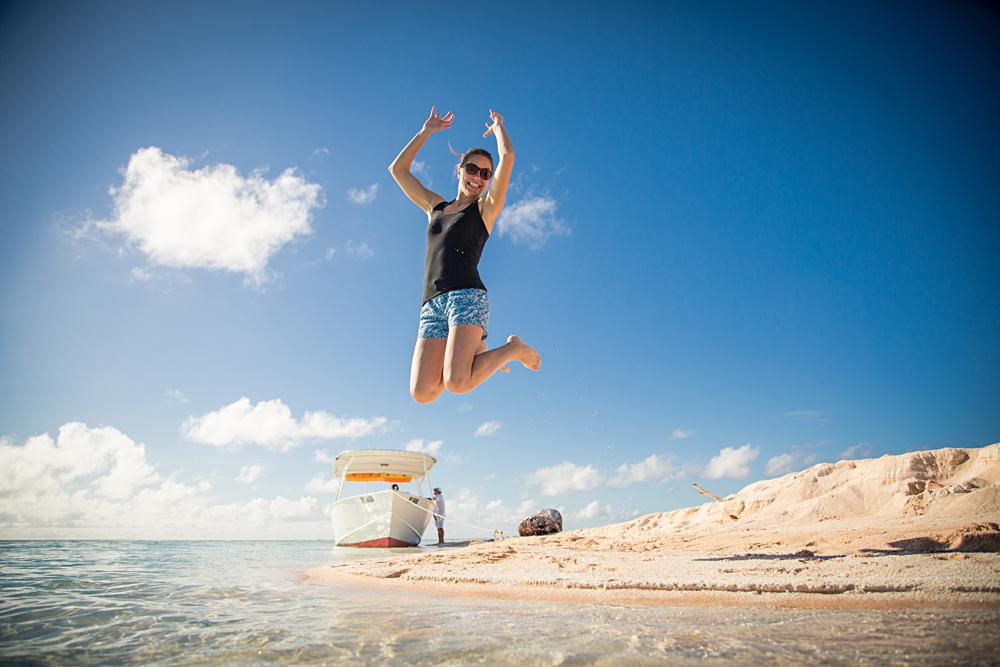 Bronwyn - Jumping for Joy in Tahiti